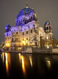 Berliner Dom at night, Berlin Stock Photo