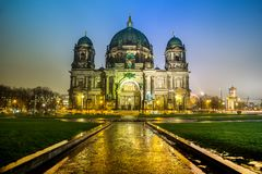 The Berliner Dom in the night in Berlin Germany Royalty Free Stock Image