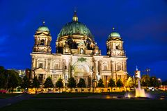 Berliner Dom overview. In Berlin at the night time royalty free stock images