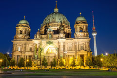 Berliner Dom and TV Tower at night. The illuminated Berliner Dom and the TV Tower at night Stock Photography