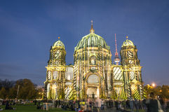 Berliner Dome illuminated at Festival of Lights Stock Photos