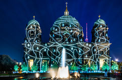 Berliner Dome illuminated during Festival of Lights Stock Photo