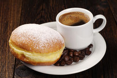 Berliner donut with coffee Royalty Free Stock Photography