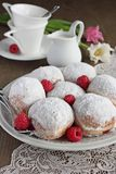 Berliner ( donuts ) with raspberry and jam filling Stock Photo