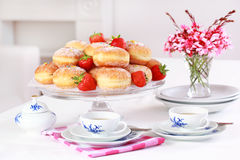 Berliner - doughnut filled with strawberry jam Royalty Free Stock Photos