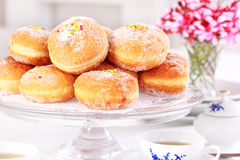 Berliner - doughnut filled with strawberry jam Royalty Free Stock Images