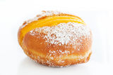 Berliner with egg creme over white and sugar Stock Photos