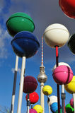 Berliner Fernsehturm. The famous Fernsehturm at berlin, gemany, between shiny colorful balls Royalty Free Stock Images