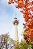 Berliner Fernsehturm-toren in Berlijn en bladeren Stock Foto's