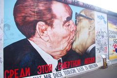 Berliner Mauer, Berlin, Germany. Symbol of the fall of the Iron Curtain in Germany and in Europe. It completely cut off West Berlin from Eat Berlin as well as Stock Image