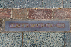 Berliner Mauer plaque. A sign on the place near checkpoint Charlie in Berlin where  the Berlin Wall passed Stock Image