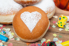 Berliner pancake with heart Stock Image