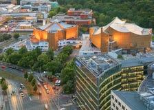 Berlino, Germania, - 29 agosto 2015: Platz di Potsdamer da sopra Fotografia Stock Libera da Diritti