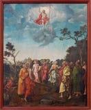 BERLINO, GERMANIA, 16 FEBBRAIO AL 2017: La pittura dell'ascensione del signore in chiesa Marienkirche da un artista sconosciuto d fotografia stock