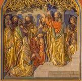 Berlino - sermone di St Paul a Atene sulla collina di Aeropagus Il sollievo scolpito sull'altare principale della chiesa dei domi Fotografia Stock Libera da Diritti