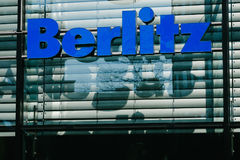 Berlitz language school logo on store front Royalty Free Stock Photography