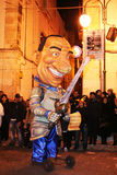 Berlusconi. A allegoric mask of the italian president berlusconi at the carnival parade of putignano in italy.8/3/11 Royalty Free Stock Images