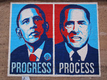 Berlusconi criticism. Orgosolo, Italy - June 6, 2011: Political mural showing Obama and Berlusconi, criticizing Berlusconi in Orgosolo, Sardinia, Italy Stock Photos