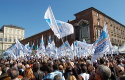 Berlusconi flags. Electoral meeting of Silvio Berlusconi in Turin castle square, Italy. Italian elections 2008 Royalty Free Stock Photos
