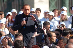 Berlusconi, italian elections. Electoral meeting of Silvio Berlusconi in Turin, Italy. Italian elections 2008 Stock Image