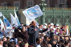 Berlusconi Silvio. Electoral meeting of Silvio Berlusconi in Turin, Italy. Italian elections 2008 Royalty Free Stock Photography