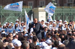 Berlusconi Silvio political. Electoral meeting of Silvio Berlusconi in Turin, Italy. Italian elections 2008 Royalty Free Stock Photo