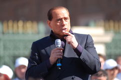 Berlusconi talking. Electoral meeting of Silvio Berlusconi in Turin, Italy. Italian elections 2008 Stock Photos