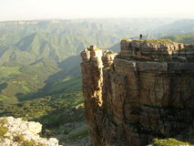 Bermamit plateau earlu in the morning people on the top Royalty Free Stock Photography