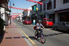 Berömd Jonker gata i kineskvarter i Malacca Fotografering för Bildbyråer