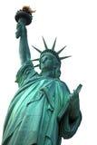 Berömd NY-staty av frihet som isoleras på vit Arkivbild