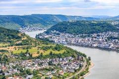 Berömd populär vinby av Boppard på Rhine River Arkivbild