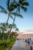 Berömd Waikiki strand Arkivfoto