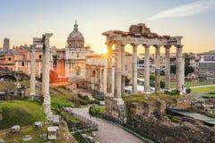 Berömda Roman Forum i Rome Arkivbild