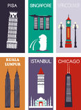 berömda städer Fotografering för Bildbyråer