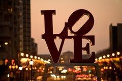 berömdt förälskelsephiladelphia tecken Fotografering för Bildbyråer