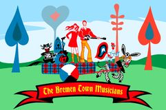 The Bremen Town Musicians. The heroes of the tales of the Brothers Grimm. Troubadour and his friends. The king and the princess vector illustration
