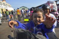 Bermotor di Mudik Fotografia Stock
