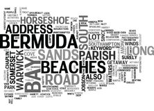 Bermuda Beaches Word Cloud. BERMUDA BEACHES TEXT WORD CLOUD CONCEPT royalty free illustration
