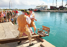 Bermuda Dunking Ceremony Historical Reenactment Stock Image