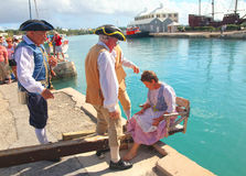 Bermuda Dunking Ceremony Historical Reenactment Stock Photography