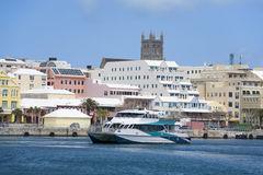 Bermuda Ferry and Hamilton Waterfront Royalty Free Stock Images