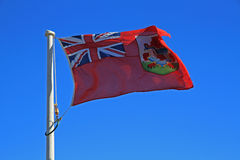 Bermuda Flag, against a blue sky Royalty Free Stock Photo