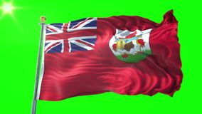 Bermuda flag seamless looping 3D rendering video. Beautiful textile cloth fabric loop waving