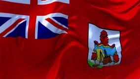 08 Bermuda flagga som vinkar i fortlöpande sömlös öglasbakgrund för vind arkivfilmer
