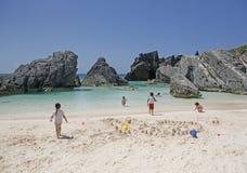 Bermuda Horseshoe Bay. Children play in cove on Horseshoe Bay, Bermuda Stock Image