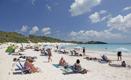 Bermuda. Tourist and residents relax on famous pink sand beach of  Horseshoe Bay, Bermuda Stock Image
