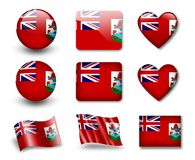 The Bermuda Islands flag. Set of icons and flags. glossy and matte on a white background Royalty Free Stock Image