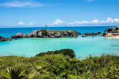 Bermuda Lagoon. Turquoise colored water of Tobacco Bay, a popular beach in Bermuda Stock Photo