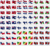 Bermuda, Netherlands, Wales, Anguilla, Finland, Namibia, Czech Republic, Congo Republic, Swaziland. Big set of 81 flags. Stock Image