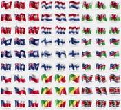 Bermuda, Netherlands, Wales, Anguilla, Finland, Namibia, Czech Republic, Congo Republic, Swaziland. Big set of 81 flags. Bermuda Netherlands Wales Anguilla Stock Image